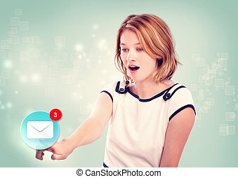 femme, jeune, pointage, icône, email
