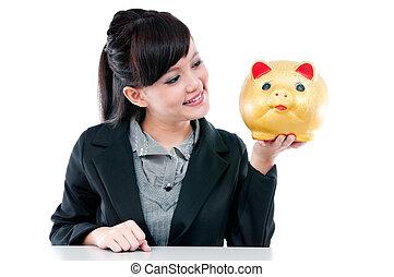 femme, jeune, porcin, tenue, banque, heureux