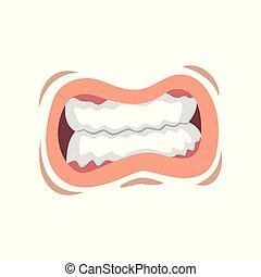 femme, jeune, serré, lèvres, vecteur, bouche, illustration, fond, émotif, dents blanches