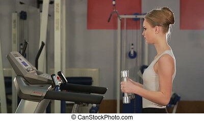 femme, jeune, sports, gym., dumbbells, fitness., exercices