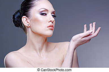femme, jeune, studio, joli, élégant, portrait