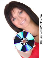 femme, jeune, tenue, cd