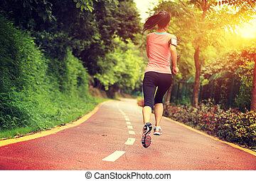 femme, jeune, traîner courir, forêt, fitness