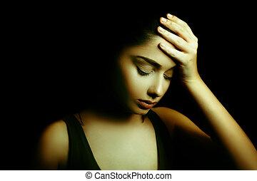 femme, jeune, triste, sombre, depression., figure
