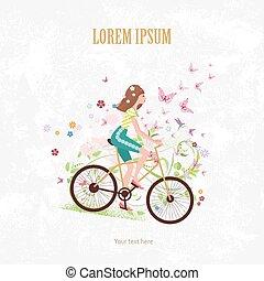 femme, jeune, vélo, invitation, équitation, sport, carte, gentil
