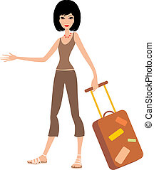 femme, jeune, valise