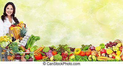 femme, jeune, vegetables.