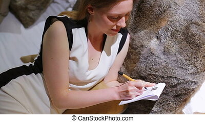 femme, jeune, writing.