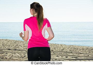 femme, jogging, svelte, plage