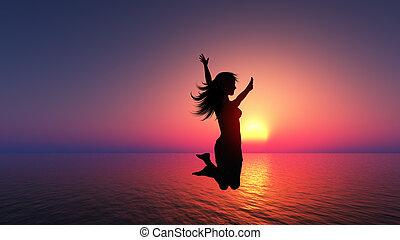 femme, joie, sauter