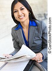 femme, joli, affaires asiatiques