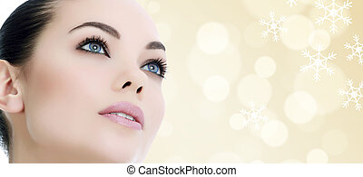 femme, joli, contre, résumé, fond, flocons neige
