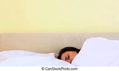 femme, joli, dormir