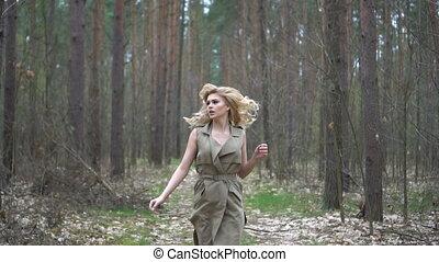 femme, joli, forêt, blond