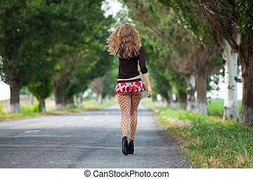 femme, joli, jeune, auto-stop