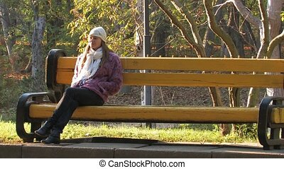 femme, joli, parc
