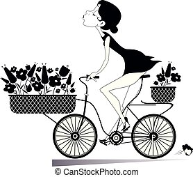 femme, joli, promenades, vélo, jeune, illustration