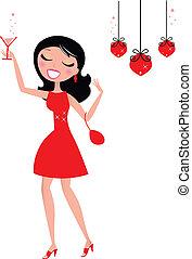 femme, joli, tenue, cocktail, noël, verre