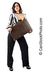 femme, joli, valise