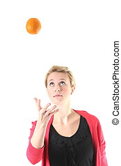 femme, jonglerie, à, une, orange