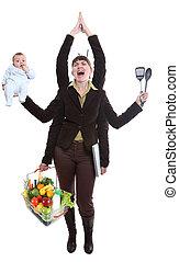 femme, jonglerie, fruit