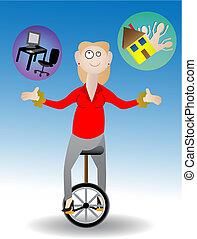 femme, jonglerie, travail famille