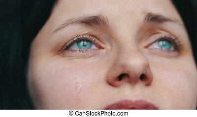 femme, joue, désordre, haut, larmes, fin, portrait