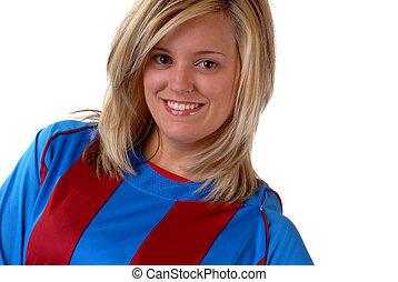 femme, joueur football