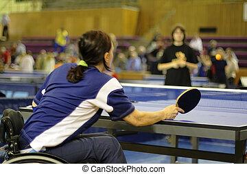 femme, joueur, pong, ping