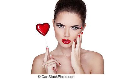 femme, jour, beauté, portrait., polonais, manucuré, isolé, clous, rouges, spa, arrière-plan., lèvres, valentines, concept, beau, blanc