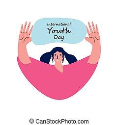 femme, jour, jeunesse, international, célébrer