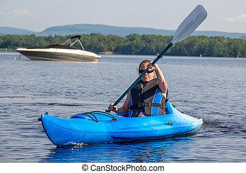 femme, kayaking, lac, calme