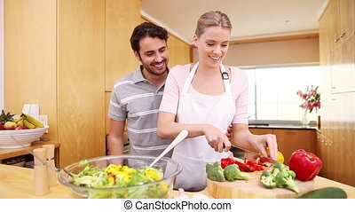 femme, légumes, découpage, jeune