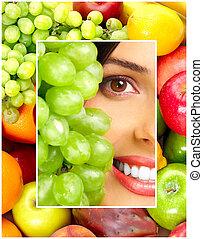 femme, légumes, et, fruits