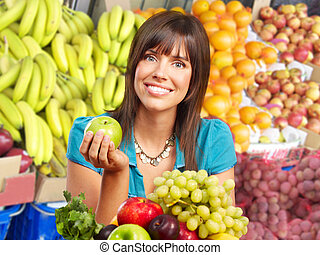 femme, légumes, fruits