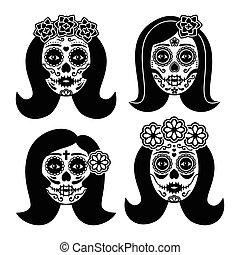 femme, la, crâne, catrina, mexicain