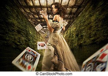 femme, lancement, jouer cartes