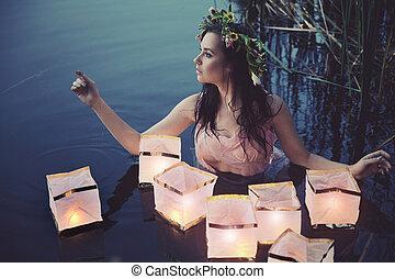 femme, lanternes, jeune