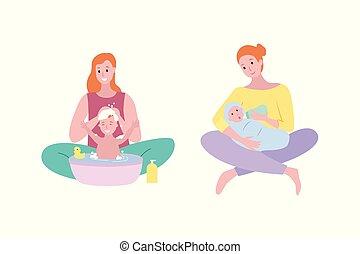 femme, lavage, enfant, cheveux, mère, bébé, savon