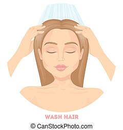 femme, lavage, hair.