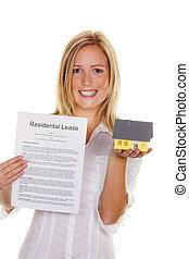 femme, lease., complété, succès, jeune, anglaise, a