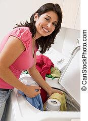 femme, lessive
