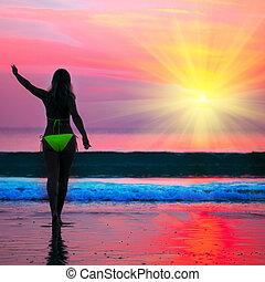 femme, levers de soleil, temps