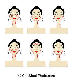 femme, lignes, masage, figure