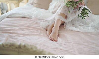 femme, lingerie, jeune, lit, séance