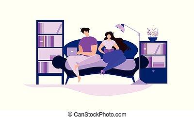 femme, lire, couple, travail, cahier, livre, maison, homme