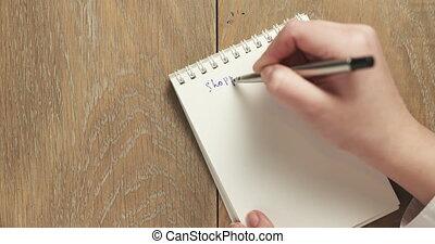 femme, liste, vide, bloc-notes, écrit, adolescent, achats
