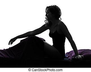 femme, lit, séance, sourire, silhouette