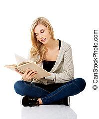 femme, livre, étudiant
