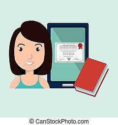 femme, livre, étudiant, tablette, diplôme